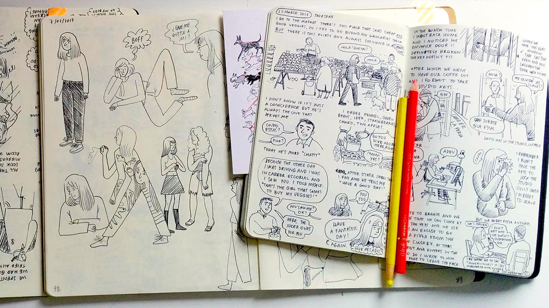 Desk photo of my sketchbooks
